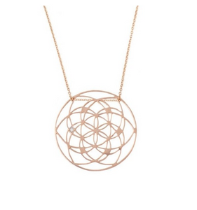 Gold Flower Of Life Pendant With Diamond
