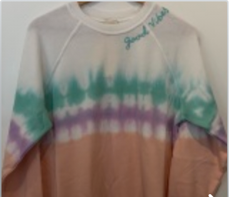 Good Vibes Tie Dye Sweatshirts (Green Purple Peach)