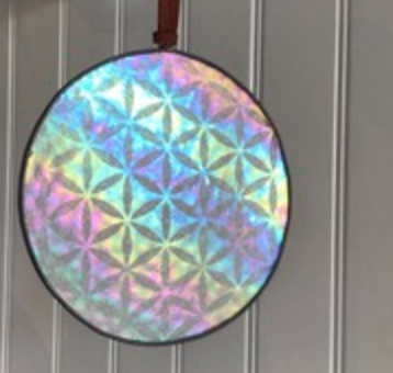 Stained Glass Iridescent Flower of Life