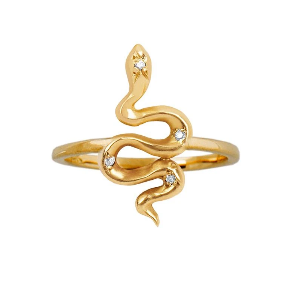 Gold Kundalini Baby Snake Ring with Star Set Diamonds - Size 6