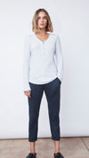 Zip Henley in Stella Blue Heather - Women's Apparel | b New York
