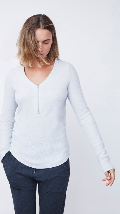 Women's Sustainable Zip Henley Shirt in Blue by b new york