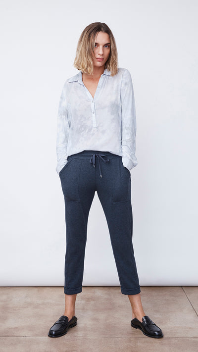 Recycled Crop Pant in Navy Heather - Women's Apparel | b New York