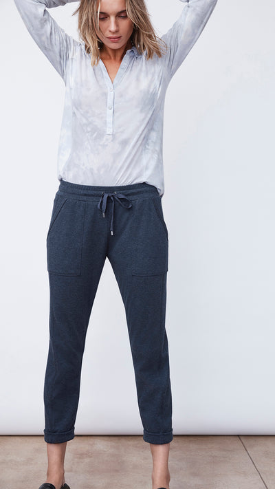 Recycled Crop Jogger Pants in Navy Blue by b new york
