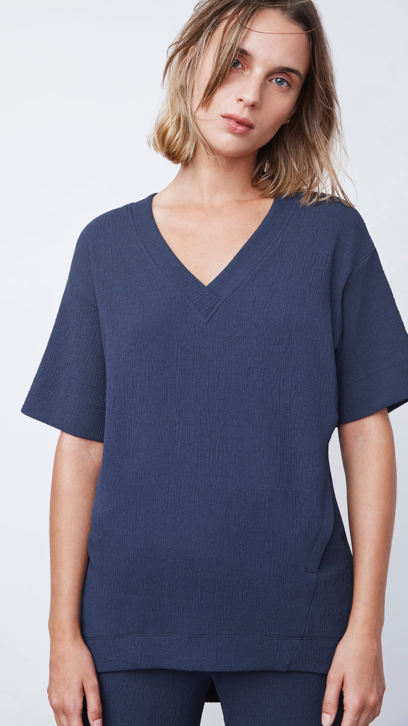Textured V-Neck Tee in Navy - Women's Apparel | b New York