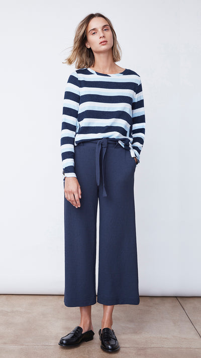 Woman Wearing Navy Wide Leg Crop Pants by b new york