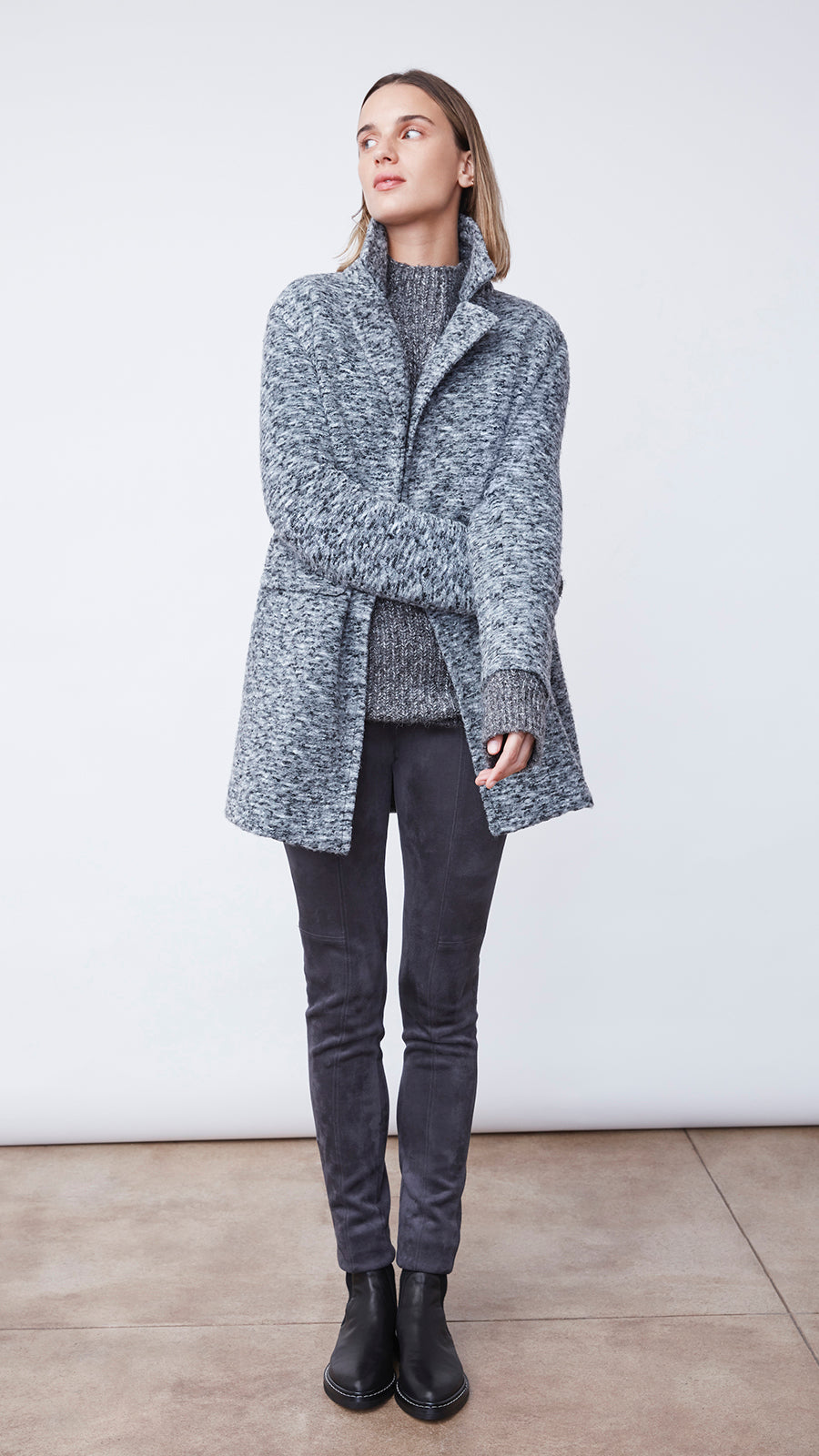 Women's Textured Soft Coat in Charcoal by b new york