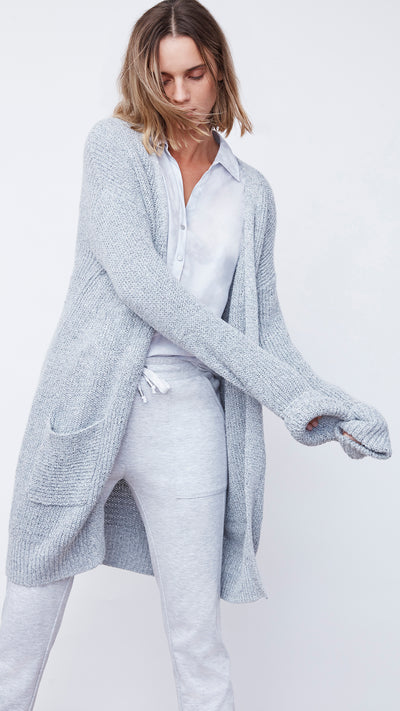 V-Neck Cardigan in Pale Grey Tweed - Women's Apparel | b New York