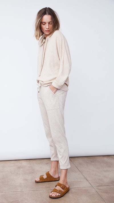 Woman Wearing the Textured Easy Hoodie by b new york