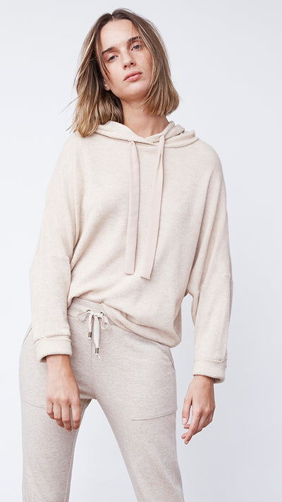 Textured Easy Hoodie in Sandstone Heather - Women's Apparel | b New York