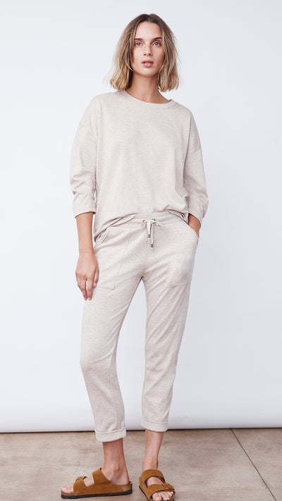 Recycled Crop Jogger Pant in Beige by b new york
