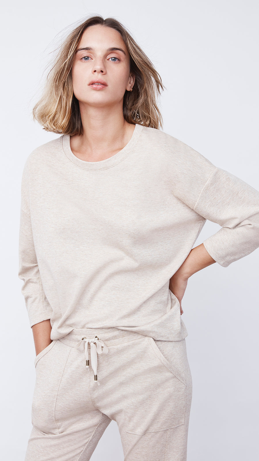 Women's Beige Tuck Sleeve Recycled Sweater by b new york
