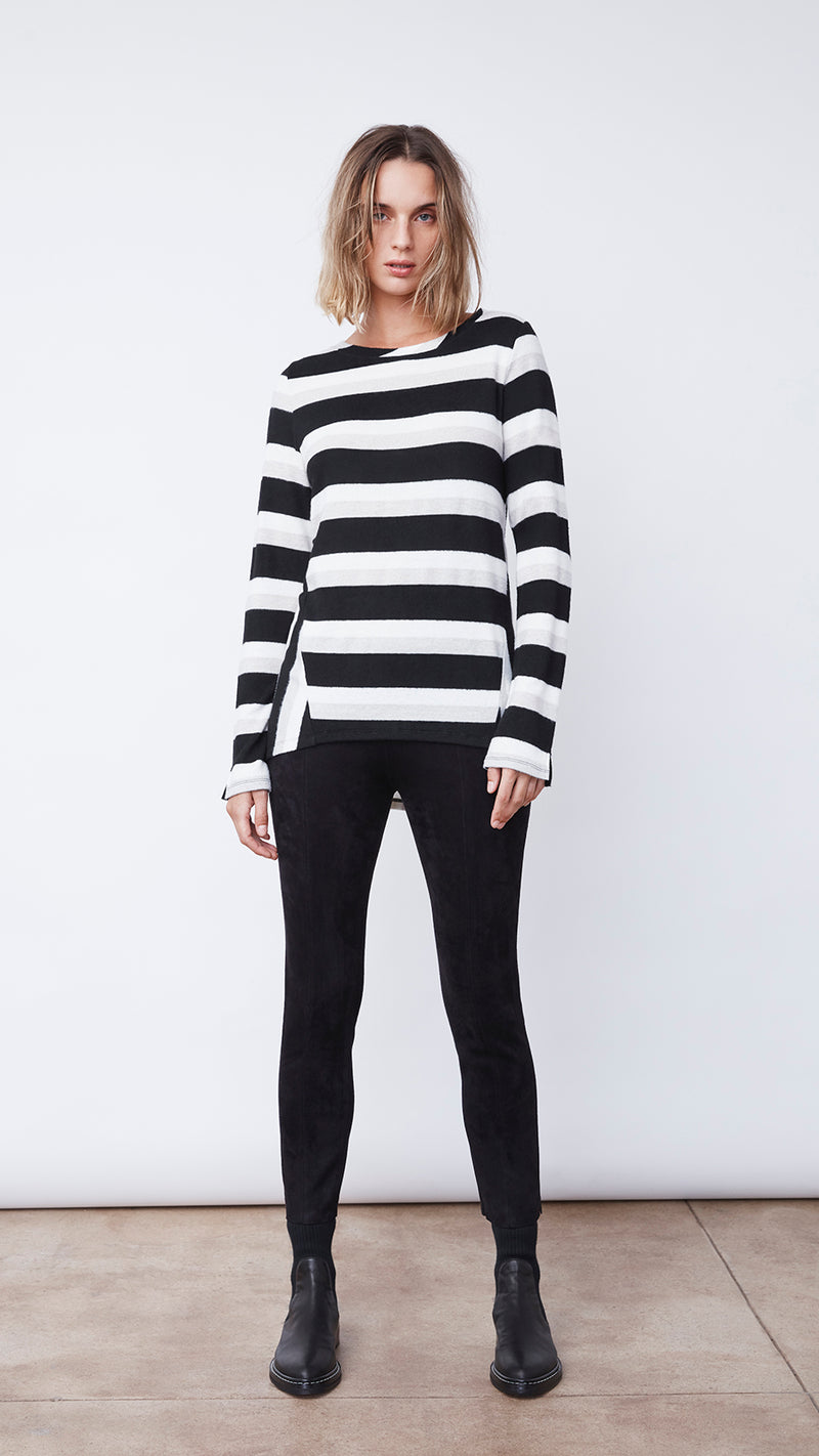 Women's Black and White Striped Long Sleeve by b new york