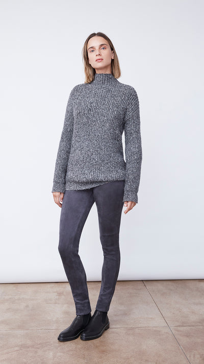 Women's Sustainable Funnel Neck Sweater in Black by b new york