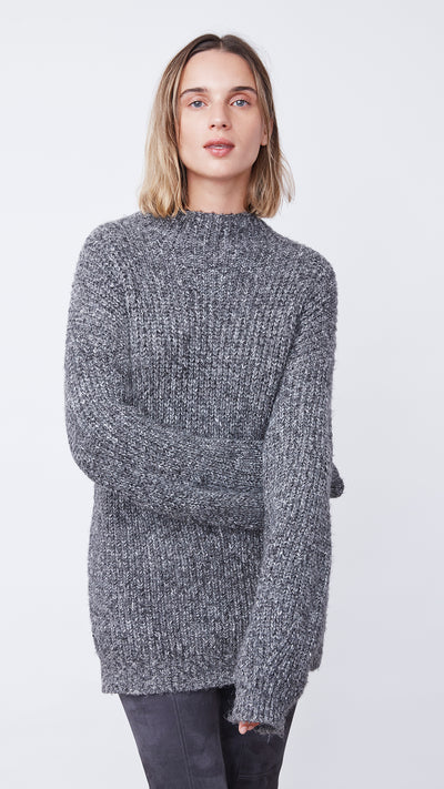 Eco-Friendly Funnel Neck Sweater in Black by b new york