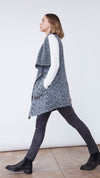 Drape Front Longline Vest in Charcoal - Women's Apparel | b New York