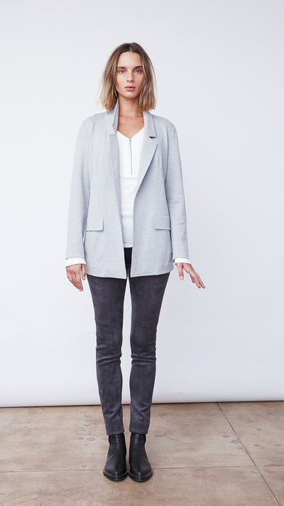 Recycled Topstitched Jacket in Silver Grey Heather - Women's Apparel | b New York