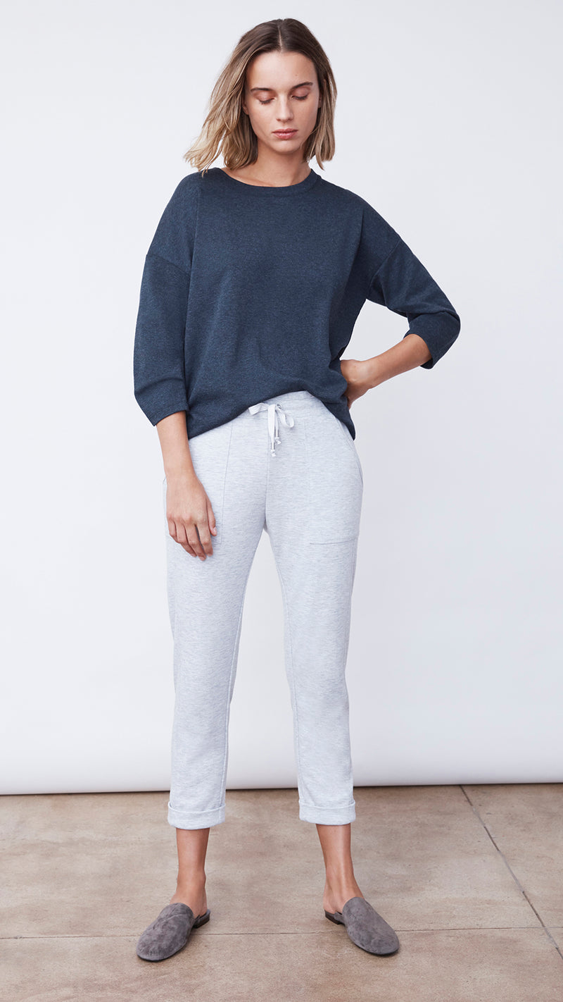 Recycled Crop Jogger Pant in Silver Grey by b new york