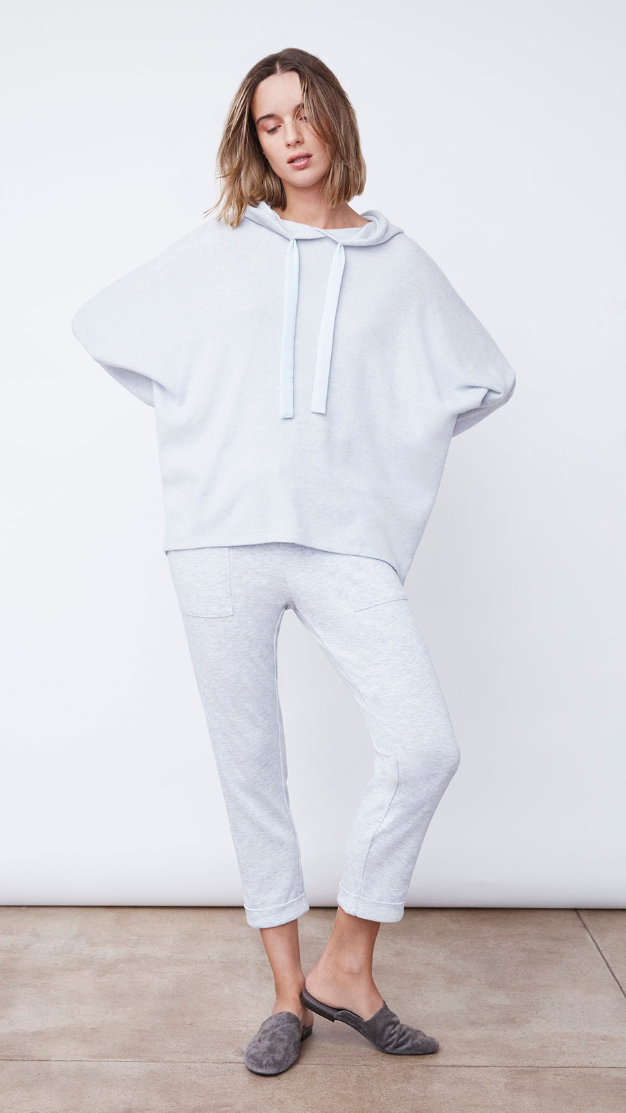 Textured Easy Hoodie in Stella Blue Heather - Women's Apparel | b New York