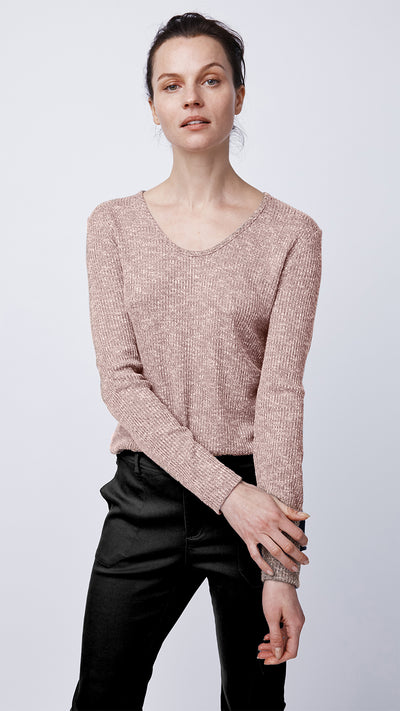 Women's Long Sleeve Ribbed Knit Top in Pink by b new york