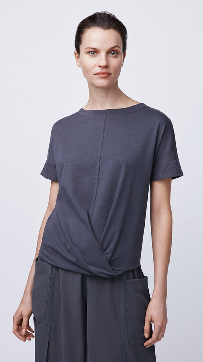 Consciously Made Short Sleeve Cross Front Top by b new york