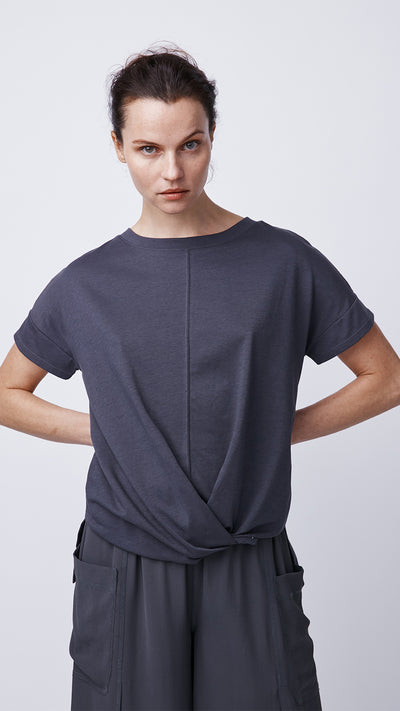 Modern Short Sleeve Top with Cross Front by b new york