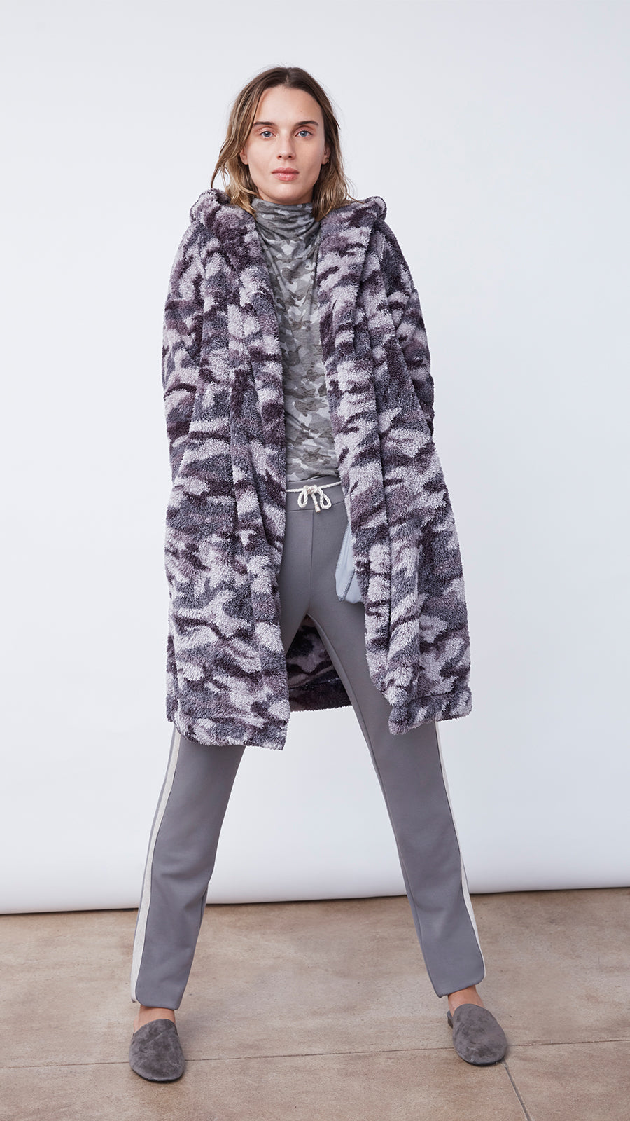 Women's Plush Cardigan Hoodie in Pink Camo by b new york
