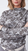 Funnel Turtleneck Tunic in Textured Camo Mink - Women's Apparel | b New York