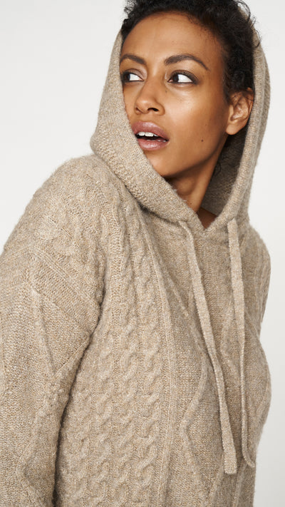 Cropped Cable Knit Hoodie