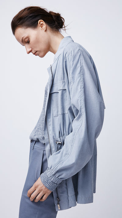 Women's Oversized Zip Jacket in Blue by b new york