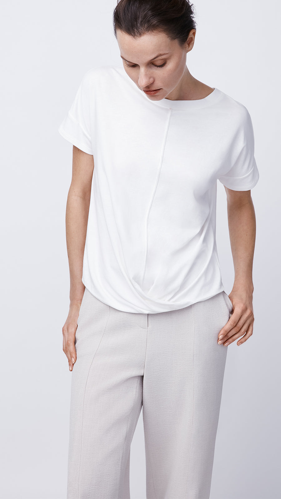 Eco-Friendly Short Sleeve Cross Front Top in Ivory by b new york