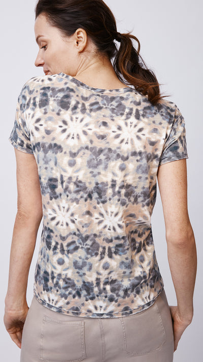 Raw Edge V-Neck Tee in Tie Dye Ivory - Women's Apparel | b New York