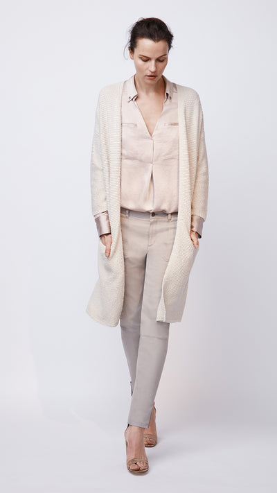 Women's Beige Textured Open Front Cardigan by b new york