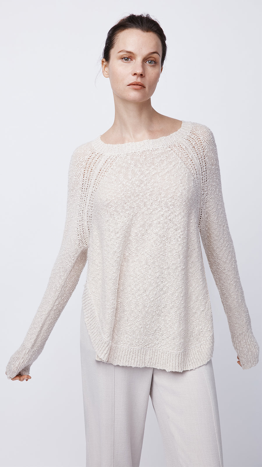 Women's Raglan Crewneck Basic Sweater by b new york