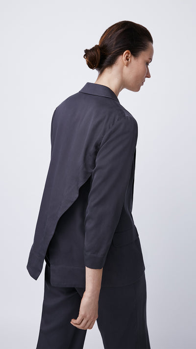 Back View of the Women's Black Crossover Back Blazer by b new york