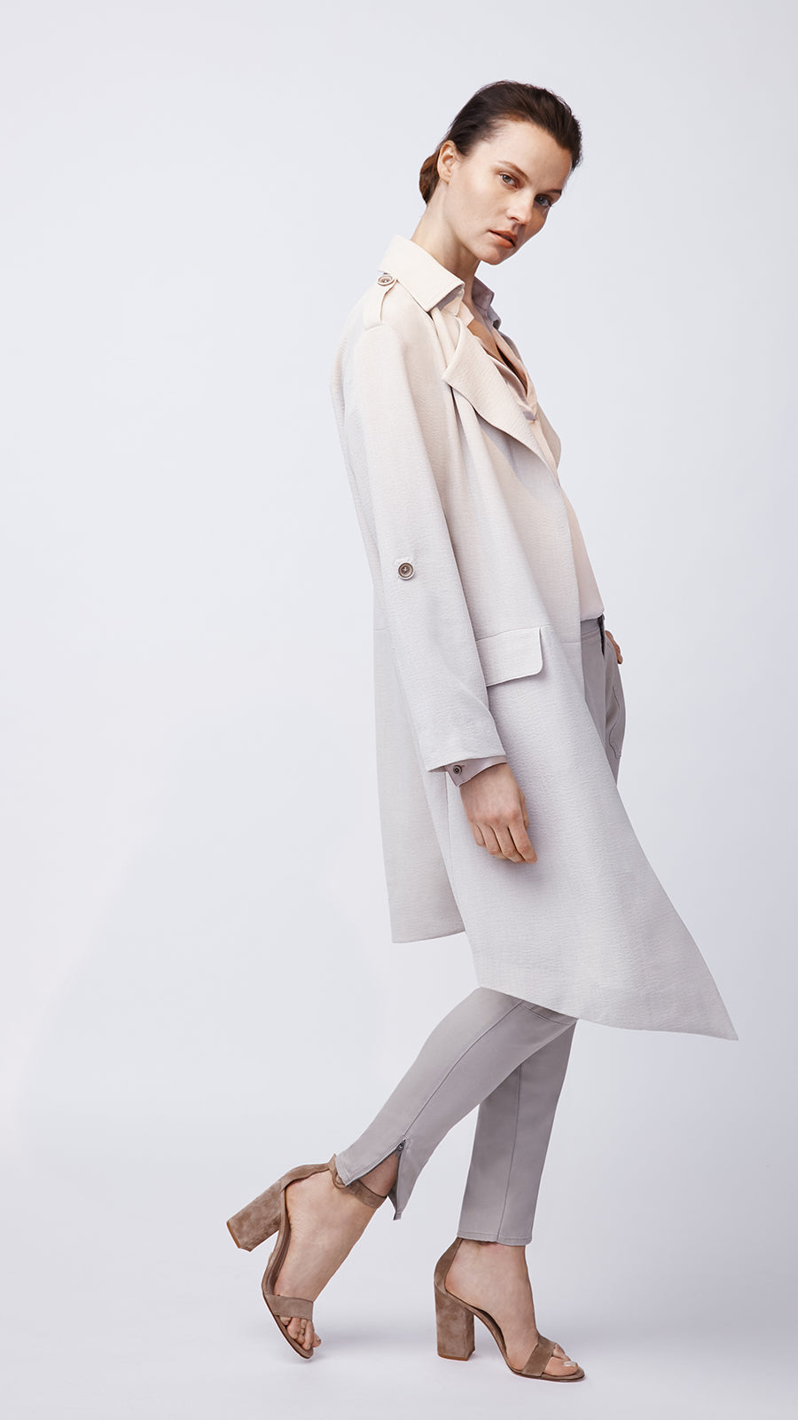 Roll Sleeve Trench Coat