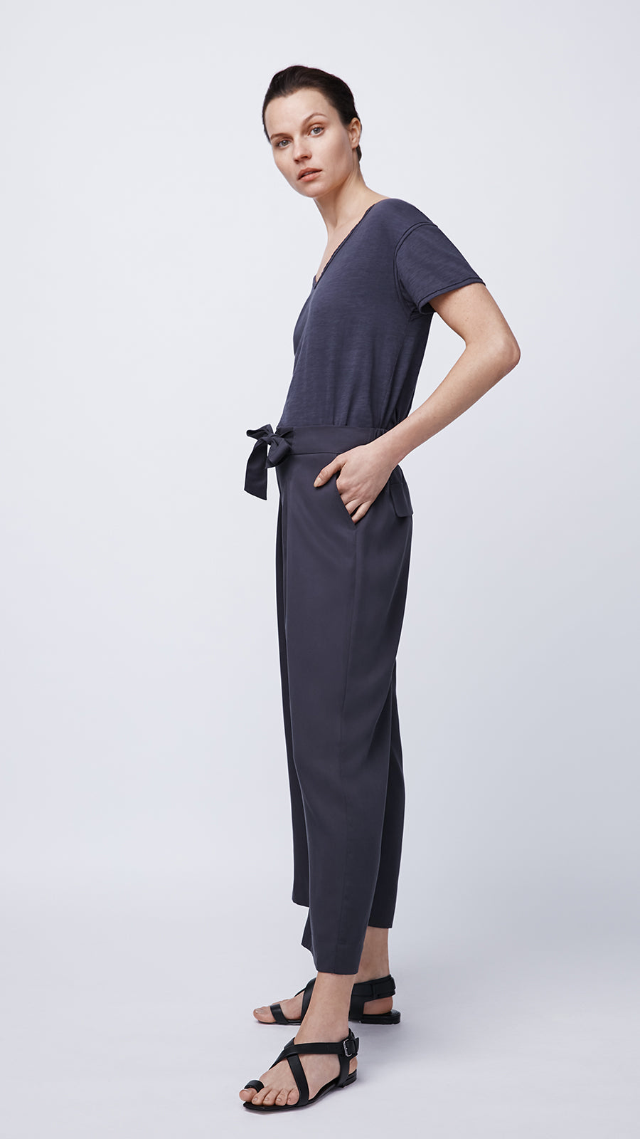 Woman Wearing the Tie Waist Culotte by b new york