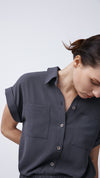 Front View of the Women's Sustainable Cuffed Button Front Shirt by b new york