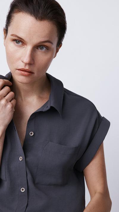 Woman Wearing Cuffed Button Front Shirt by b new york