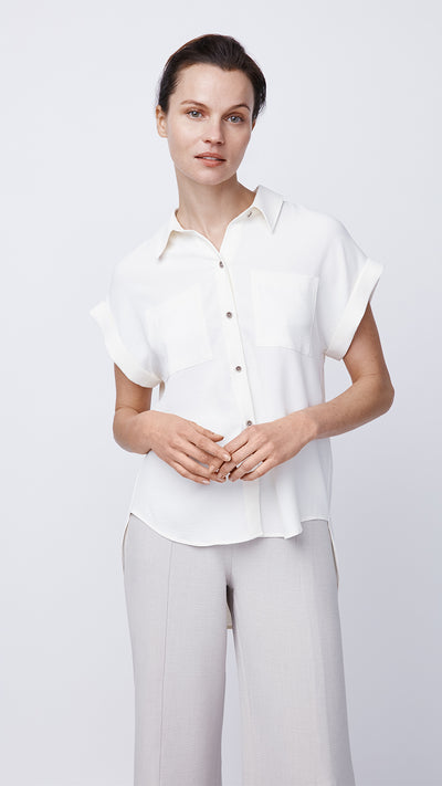 Women's White Cuffed Button Front Shirt by b new york