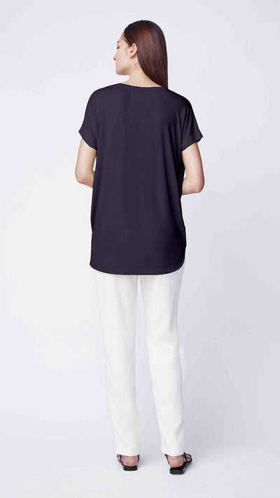 Short-Sleeve V-neck Drape Front Top