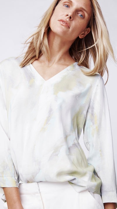 Rolled Sleeve V-Neck Shirt