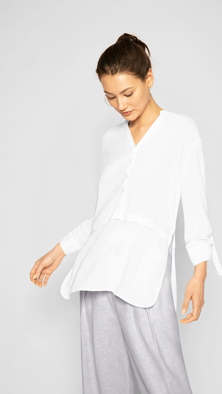 Y Neck Square Hem Tunic
