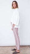 Women's Comfortable Pink Pants with Side Stripe by b new york