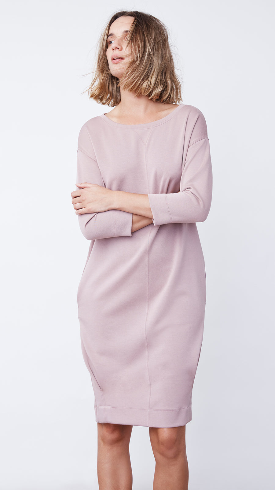 Modal Jersey Wedge Dress in Dusty Blush - Women's Apparel | b New York