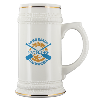 Classic Paddling Dragon Beer Stein (22 oz) | White Ceramic | Gold Trim Accent