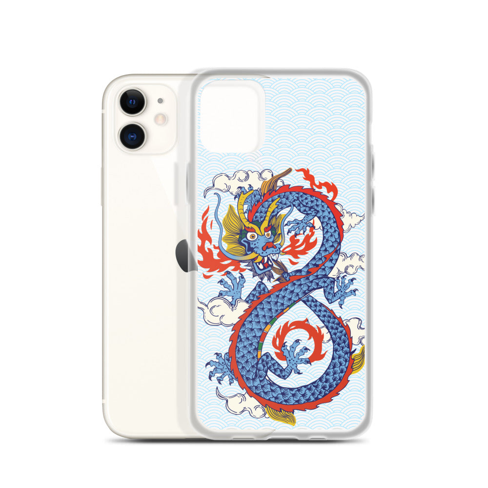 iPhone Case with Fiery Blue Dragon and Cloud Background