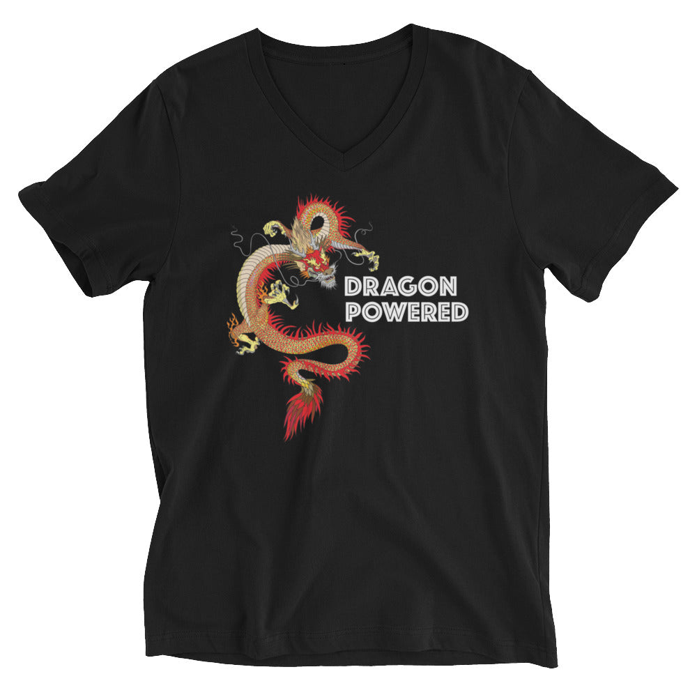 """Dragon Powered"" Unisex Jersey Short Sleeve V-Neck Tee"