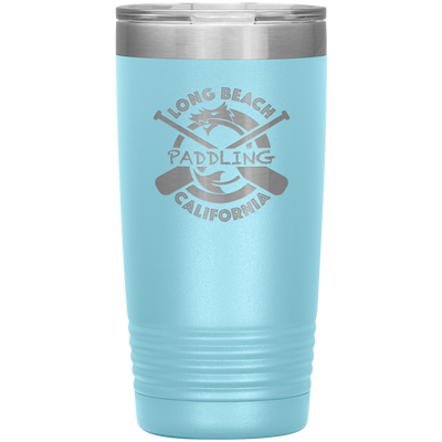 Classic Paddling Dragon Tumbler with Clear Lid (20 oz) | Insulated Stainless Steel | Sweat Free Powder-coat | Laser Etched