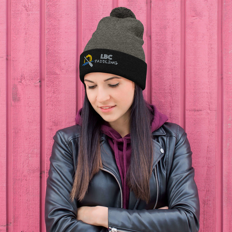 Pom-Pom Beanie with Embroidered Dragon Paddling Logo